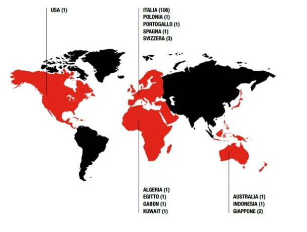 Location of Milan's 121 football schools around the world